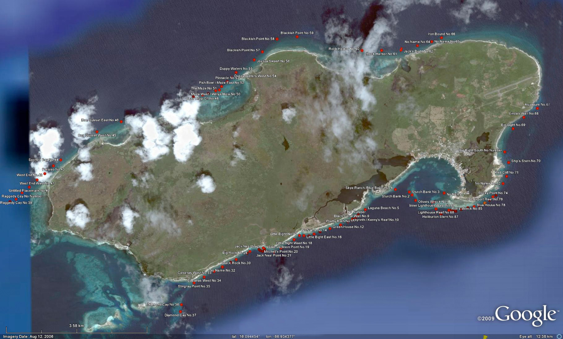 Interactive Google Map of Utila Dive Sites By Deep Blue Resort